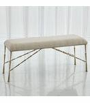 Jahari Upholstered Bench Large | Brass