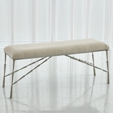 Jahari Upholstered Bench Large | Nickel