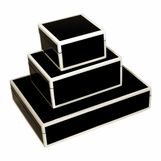Jax Lacquered Boxes | Black & White Trim