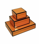 Jax Lacquered Boxes | Orange & Black Trim
