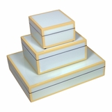 Jax Lacquered Boxes | Powder Blue & Beige Trim