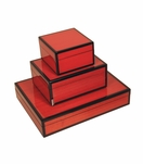 Jax Lacquered Boxes | Red Woodgrain