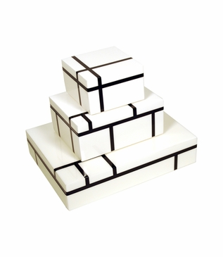 Jax Lacquered Boxes | White & Black Lines