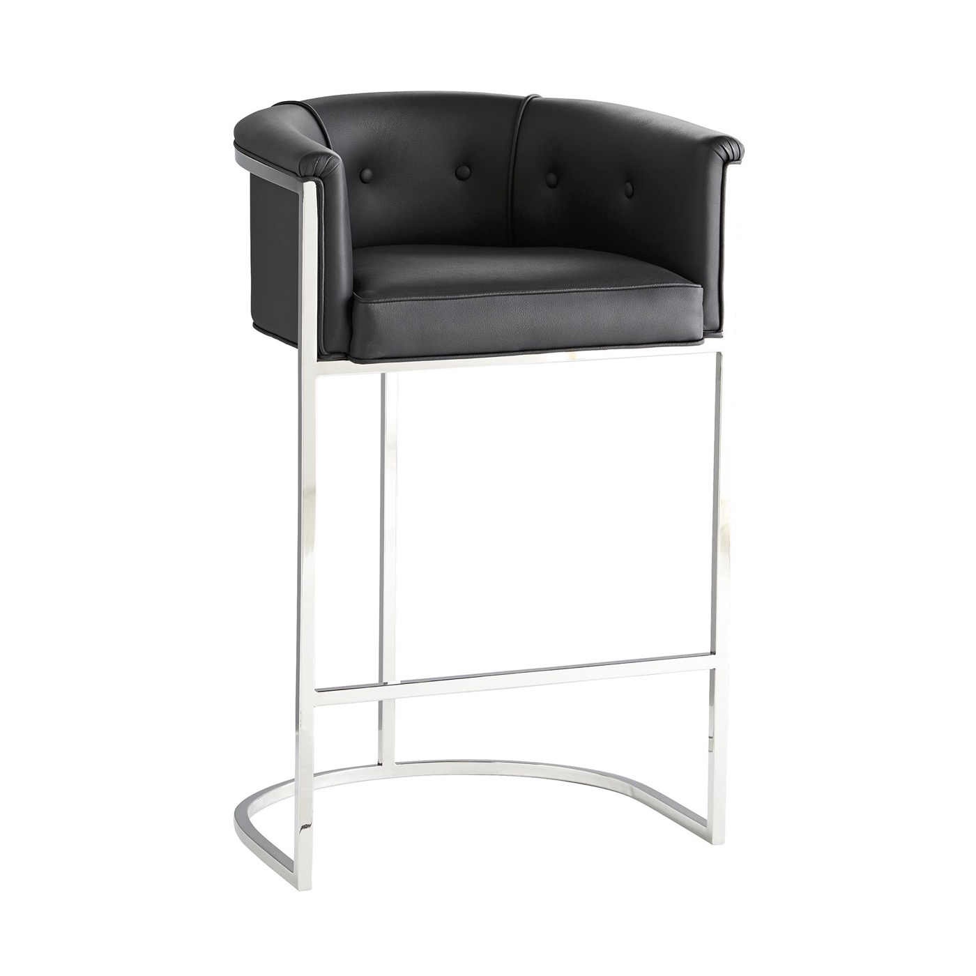 Sensational Klein Leather Bar Stool W Back Black Spiritservingveterans Wood Chair Design Ideas Spiritservingveteransorg