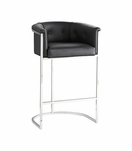 Klein Leather Bar Stool w/Back | Black