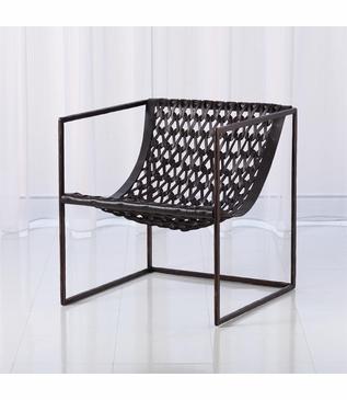 Knit Leather Chair | Bronze