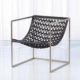 Knit Leather Chair | Nickel