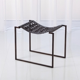 Knit Leather Stool | Bronze