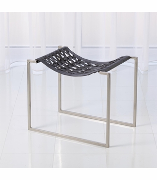 Knit Leather Stool | Nickel