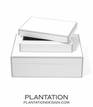 Lacquer Storage Boxes Set | White & Grey