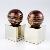 Lerma Onyx & Silver Bookends   Round