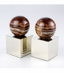 Lerma Onyx & Silver Bookends | Round