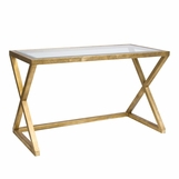 Irvine Glass Desk | Gold