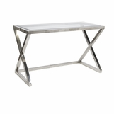 Irvine Glass Desk | Silver