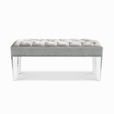 Luciano Lucite Bench, Diamond Tufted