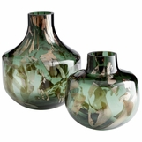 Mayella Green Glass Vases