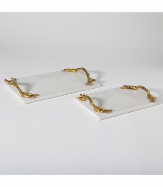 Manolo Tray | White Marble & Brass