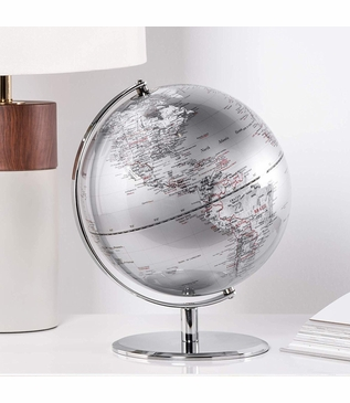 Meridian World Globe | Silver