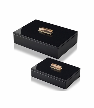 Mombusa Rectangular Lacquer Boxes | Black