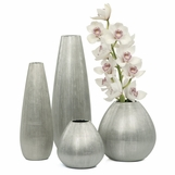 Moonrock Etched Glass Vases | Silver