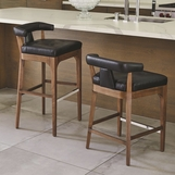 Nelson Leather Bar Stools | Black