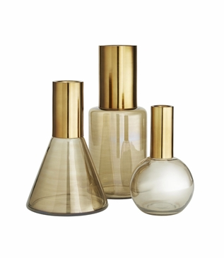 Newton Glass Vases Set | Brass