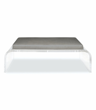 Niagara Lucite Bench, Leather