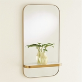 Nixon Brass Shelf Mirror | White Marble
