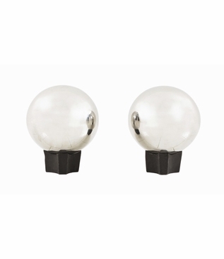 Norah Sphere Andirons Set | Nickel