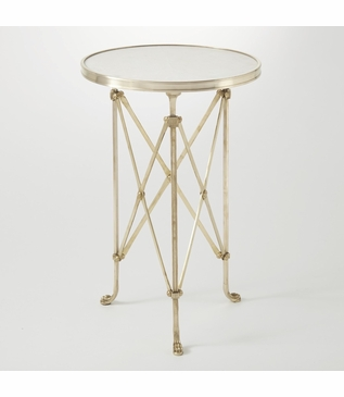 Normandie Round Table | Brass & White Marble