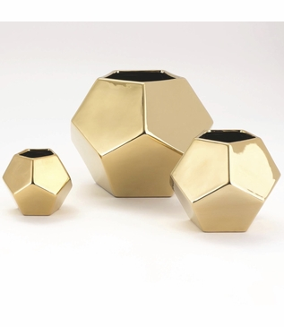 Perry Pentagonal Vases | Gold