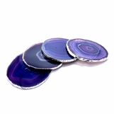 Posey Agate Coasters | Purple w/Silver Trim
