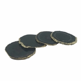 Posey Gold Agate Coasters | Black