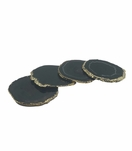 Posey Agate Coasters | Black w/Gold Trim