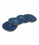 Posey Agate Coasters | Blue w/Gold Trim