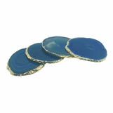 Posey Gold Agate Coasters | Teal