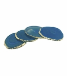 Posey Agate Coasters | Teal w/Gold Trim