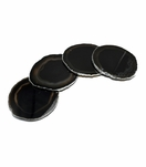 Posey Agate Coasters | Black w/Silver Trim