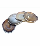 Posey Agate Coasters | Natural w/Silver Trim