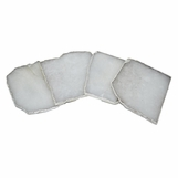 Prazo Square Coasters Set | Quartz w/Silver Trim