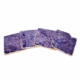 Prazo Square Coasters Set | Amethyst w/Gold Trim