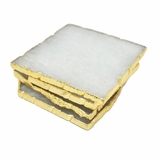 Prazo Square Coasters Set | Quartz w/Gold Trim