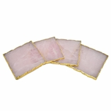 Prazo Square Coasters Set | Rose Quartz w/Gold Trim