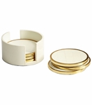 Prescott Brass Coasters Set | White