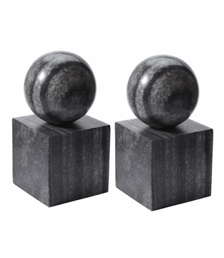 Presley Stone Bookends Set | Grey Marble
