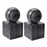 Presley Stone Bookends Set   Grey Marble