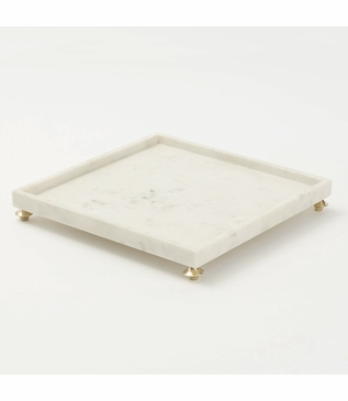 Quintessential Square Tray | White Marble