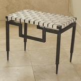 Rafi Leather & Iron Bench