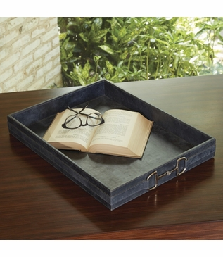 Ranchero Leather Tray   Weathered Blue