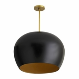 Rhys Dome Pendant | Black & Gold